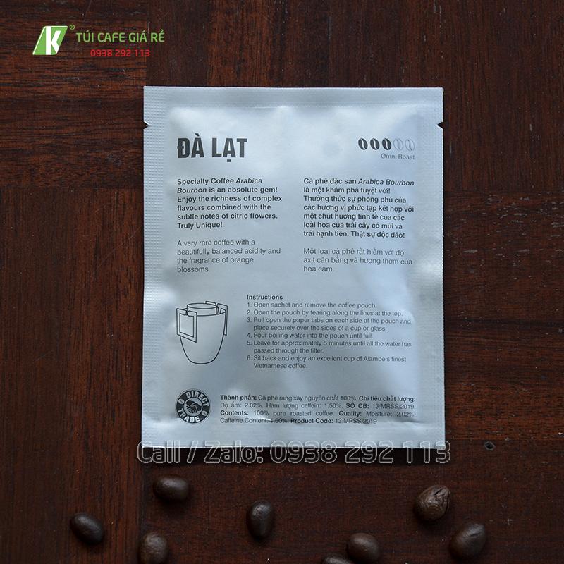 Túi đựng cà phê Alambé mặt sau