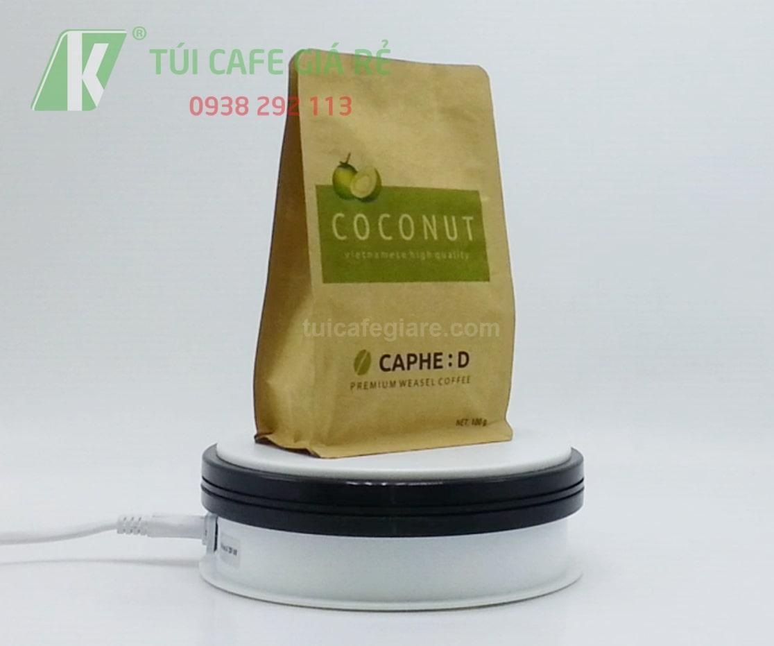 Túi giấy kraft đựng cà phê hạt loại 100g
